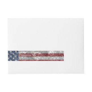 USA Flag - Crinkled Wrap Around Address Label