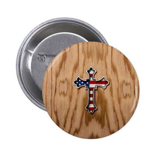USA Flag Cross 2 Inch Round Button