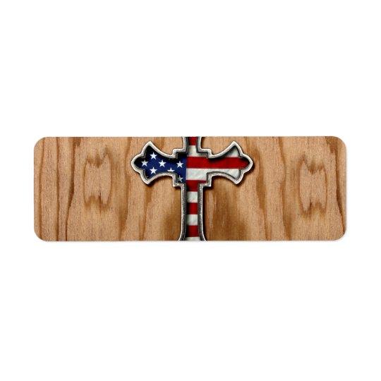 USA Flag Cross Label