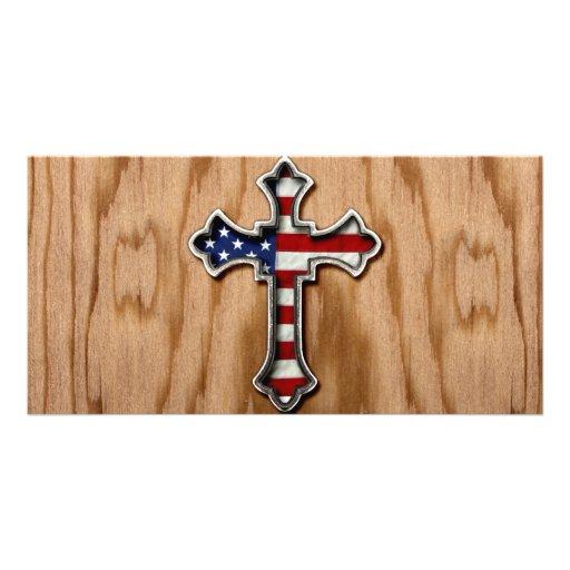 USA Flag Cross Photo Greeting Card