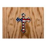USA Flag Cross Postcard