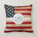 USA Flag Custom Monogram Wedding Date Pillow