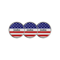 USA Flag Customizable Golf Ball Marker arc
