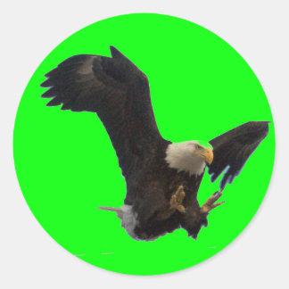 USA FLAG EAGLE CLASSIC ROUND STICKER