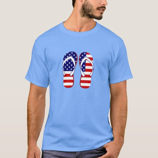 USA Flag Flip Flops Tee Shirt