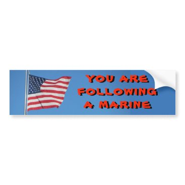 USA Flag  Following a Marine Bumper Sticker