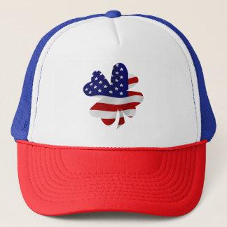 USA Flag Four-Leaf Clover Trucker Hat