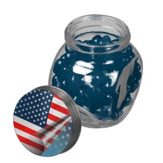 USA Flag Glass Candy Jar