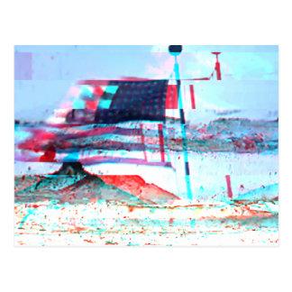 USA Flag Glitch Art Postcard