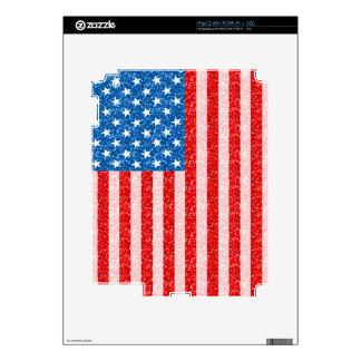 USA Flag GlitterDesign Texture Decal For iPad 2