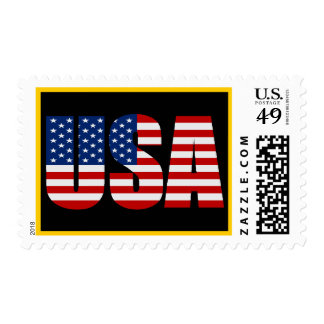 USA Flag Gold Border Postage Stamps