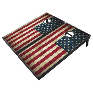 USA Flag Grunge Cornhole Set