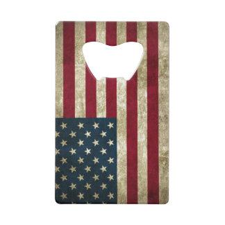 USA Flag Grunge Credit Card Bottle Opener