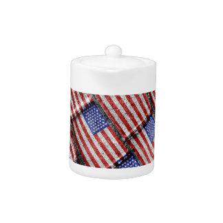 Usa Flag Grunge Pattern Teapot