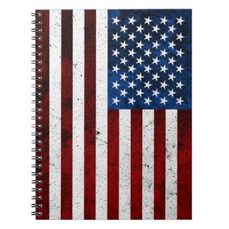USA FLAG GRUNGE SPIRAL NOTEBOOK