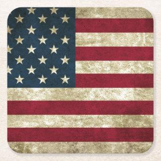 USA Flag Grunge Square Paper Coaster
