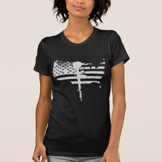 usa flag gun white veteran t shirt