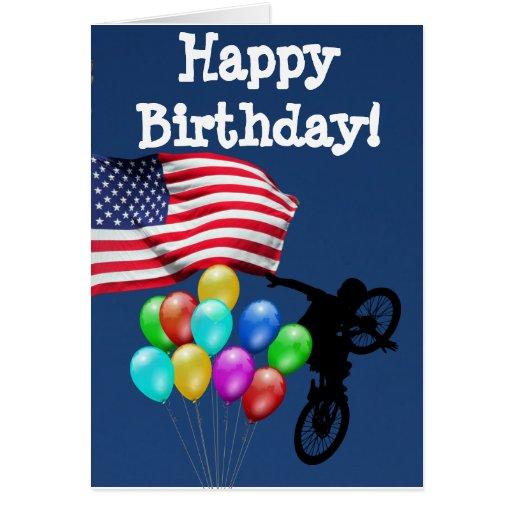 Usa flag happy birthday card zazzle