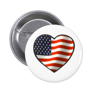 USA Flag Heart Pins