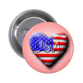 USA Flag Heart Pinback Button