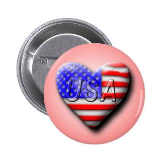 USA Flag Heart Pinback Buttons
