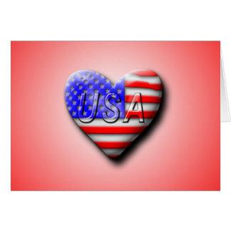 USA Flag Heart Card