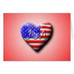 USA Flag Heart Cards