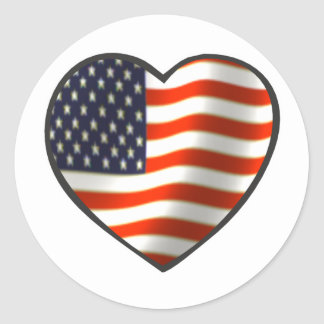 USA Flag Heart Classic Round Sticker