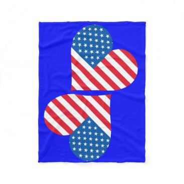 USA Themed Usa Flag Heart Fleece Blanket