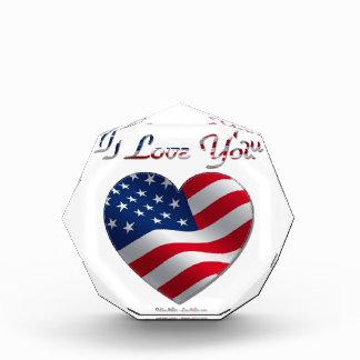 USA Flag Heart I Love You Acrylic Award