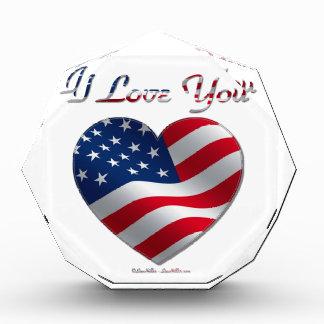 USA Flag Heart I Love You Award