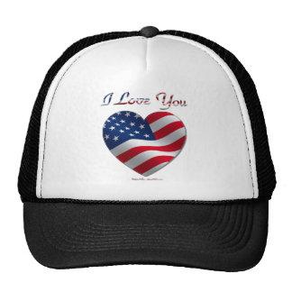 USA Flag Heart I Love You Trucker Hat