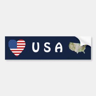 USA Flag Heart + Map Bumper Sticker