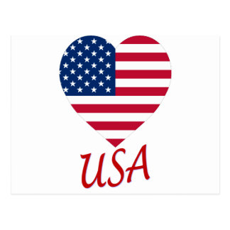 USA Flag Heart Postcard