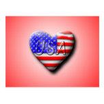 USA Flag Heart Postcards