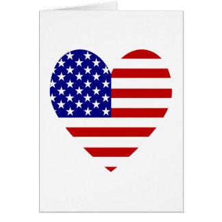 USA Flag Heart Valentine Card
