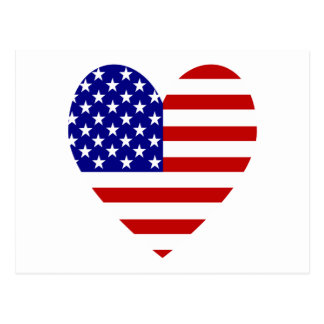USA Flag Heart Valentine Postcard