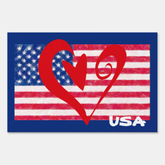 USA Flag Heart Yard Sign