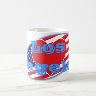 USA flag I Love Los Angeles Classic White Coffee Mug