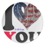USA FLAG   I LOVE  YOU  CUSTOMIZABLE PRODUCTS DINNER PLATE