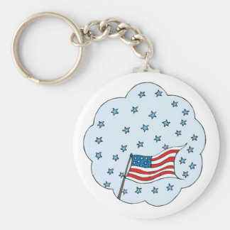 USA-Flag in a Bubble Cloud Basic Round Button Keychain
