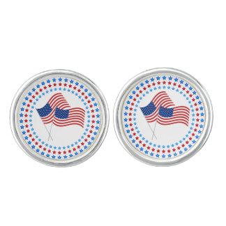 USA Flag in Circles of Stars Cufflinks