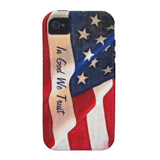 USA Flag - In God We Trust Vibe iPhone 4 Cases