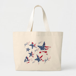 USA Flag in grunge Stars Large Tote Bag