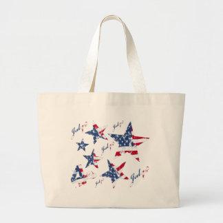 USA Flag in grunge Stars Large Tote Bag