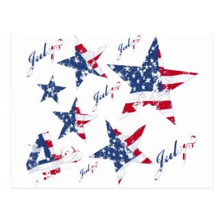USA Flag in grunge Stars Postcard