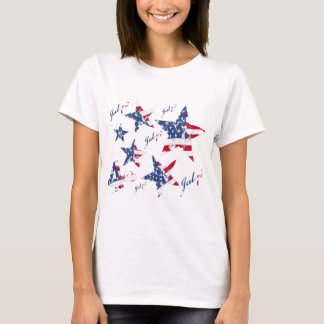 USA Flag in grunge Stars T-Shirt
