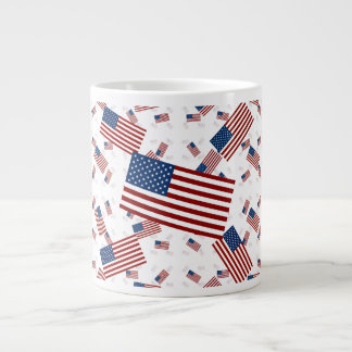USA Flag in Layers Askew Extra Large Mugs