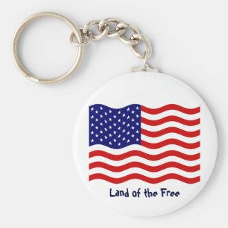 USA flag Basic Round Button Keychain
