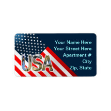 USA Flag Label